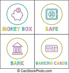 Money Box and Safe Bank Set Vector Illustration