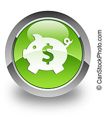 Money box (dollar) icon on glossy green round button