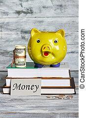 Money box, dollars and books.