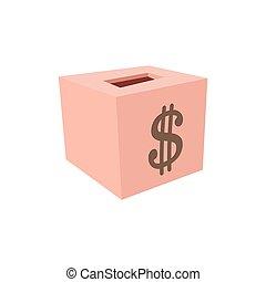 Money box donation cartoon icon. Pink box with dollar symbol...