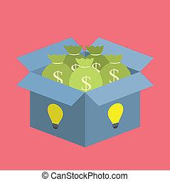 money box - moneybag in idea bulb box