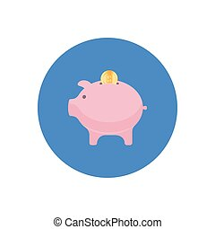 Money box icon in flat style isolated in a circle.