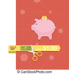 Money box icon in flat style vector illustrations.