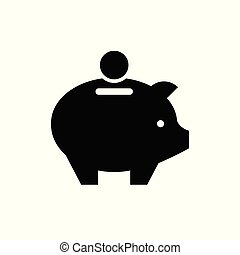 Money box icon isolated on white. Vector illustration