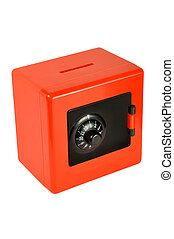 Money-box in the form of a safe on a white background