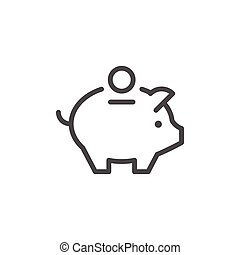 Money box line icon isolated on white. Vector illustration