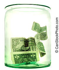 money box in form transparent glass jar