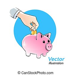 Money box. Vector illustration.