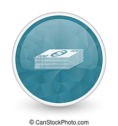 Money brillant crystal design round blue web icon.