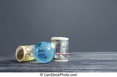 Money bundle rolls world currencies and a blue glass globe. Capital investment, savings. Profit income, dividends payouts. Crowdfunding startups investing. Banking service, budget monetary policy