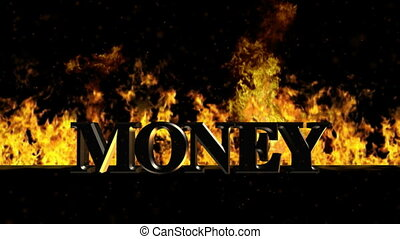 Money Burning Hot Word in Fire