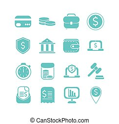 money business finance icons set color silhouette