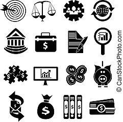 money business finance icons set