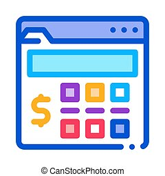 money calculator icon vector outline illustration