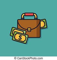 money case bag vector icon