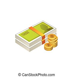 money cash and coins. Vector Illustration Isolated on White Background