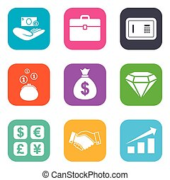 Money, cash and finance icons. Handshake sign.