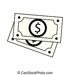 Money cash billets isolated black and white