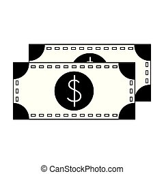 Money cash billets symbol isolated in black and white