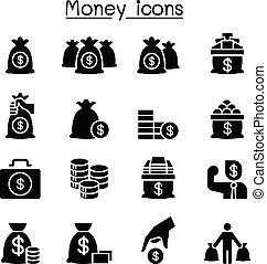Money, Cash,, coin icon set