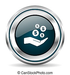 Money, cash vector icon. Chrome border round web button....