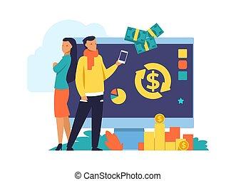 Money cashback and transfer flat illustration. Debit or ...