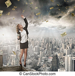 money catcher - portrait of young woman catching money on ...