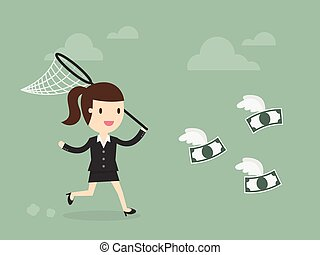 money catching - Business woman trying to catch money