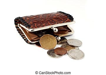 money change purse - money falling out of change purse