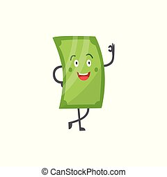 Money character, green cartoon comic dollar and paper banknote showing ok gesture and smiling.
