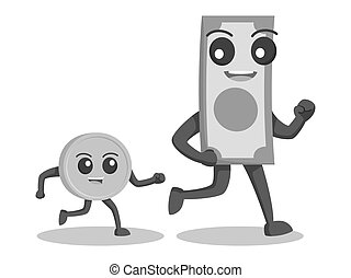 Money character walking with coin