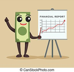 money character with financial report