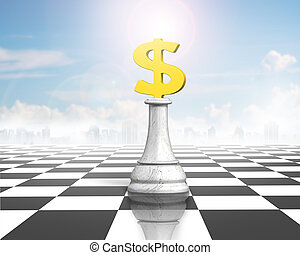 Money chess of golden dollar currency on chessboard
