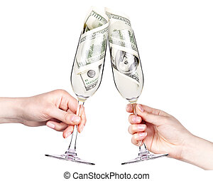 money Cocktail business concept toast isolated