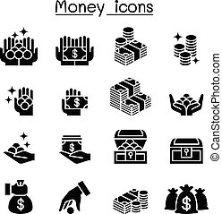 Money, Coin, Cash icon set