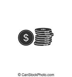 Money, coin, dollar, icon vector illustration in flat