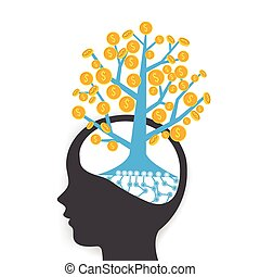 Money coin tree growing o human head, business concept think for investment, vector illustration