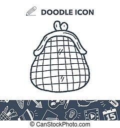 money coin wallet doodle
