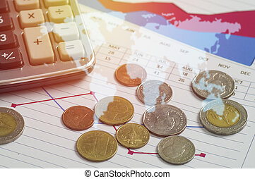 money coins and calculator on account book finance and banking concept for background. concept in growth and success in business