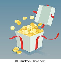 Money coins coming out of the gift box