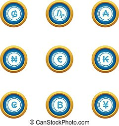 Money collapse icons set, flat style