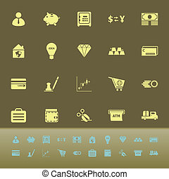 Money color icons on green background