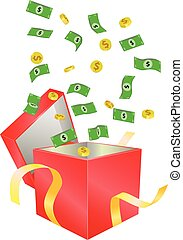 Money coming out of red box vector