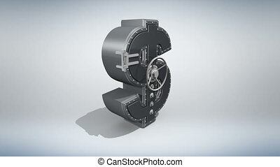 Money concept 3D - Banking safe in shape of dollar rotating...