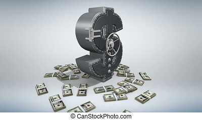 Money concept 3D - Banking safe in shape of dollar with...