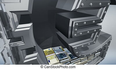 Money concept 3D - Banking safe in shape of euro with cash...