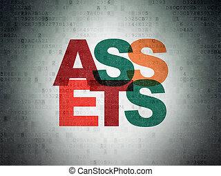 Money concept: Assets on Digital Data Paper background