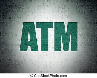 Money concept: ATM on Digital Data Paper background