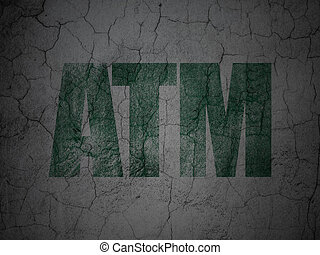 Money concept: ATM on grunge wall background