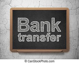 Money concept: Bank Transfer on chalkboard background